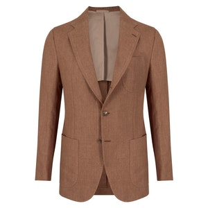 Brown Linen Single-Breasted Coroglio Jacket