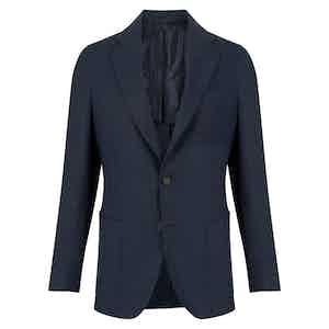 Blue Linen Single-Breasted Coroglio Jacket