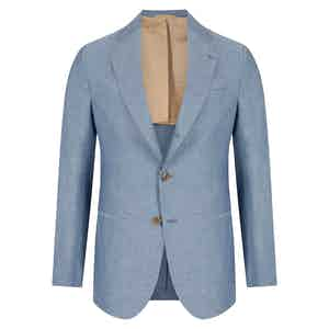 Blue Linen & Cotton Single-Breasted Napoli Jacket