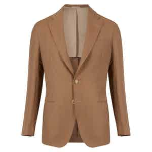 Neutral Linen and Wool Single-Breasted Napoli Jacket