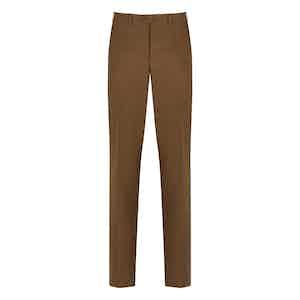 Moss Green Linen Flat-Front Trousers