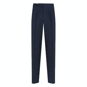 Prussian Blue Single-Pleated Linen Trousers