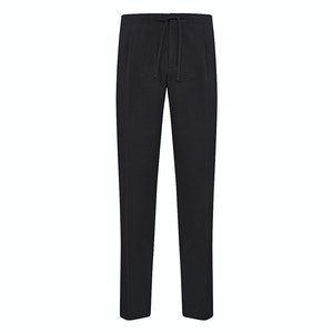 Black Cotton Seersucker Drawstring Trousers