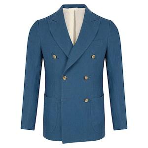 Sky Blue Linen Double-Breasted Vesuvio Jacket
