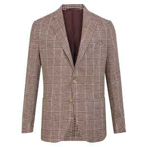 Cream and Burgundy Check Posillipo Jacket