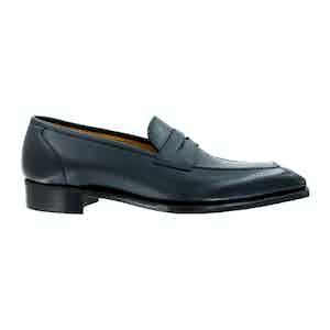 Navy Hatch Grain Leather Monaco Loafers