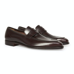 Brown Calf Leather George Penny Loafer