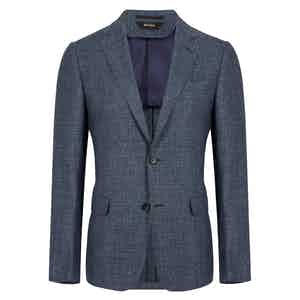 Navy Linen and Wool Blend Jacket