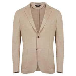 Light Brown Herringbone Linen & Cotton Blend Jacket