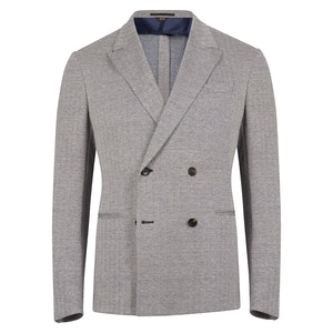 Blue Linen and Cotton Blend Herringbone Double Breasted Jacket