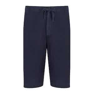 Navy Linen Shorts