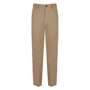 Brown Cotton Blend Trousers