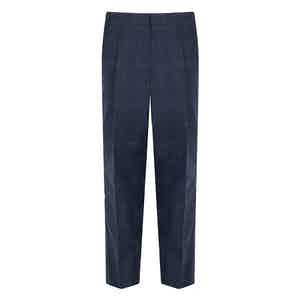 Navy Blue Wool and Cotton Blend Check Trousers