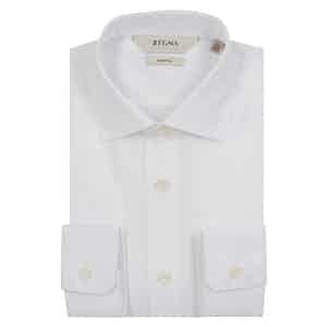 White Solid Stretch Cotton Shirt