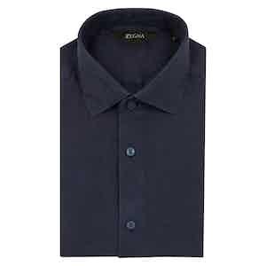 Dark Blue Solid Linen Shirt
