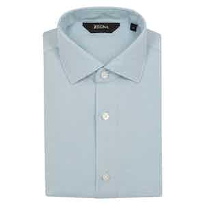 Blue Solid Linen Shirt