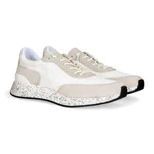 White Wool And Calf Leather Sneakers