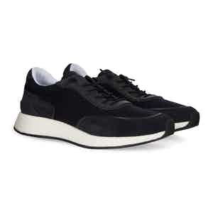 Navy Wool And Calf Leather Sneakers