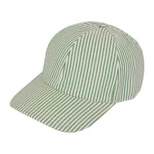 Green Striped VBC Seersucker Hard Brim Baseball Cap