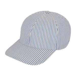 Blue Striped VBC Seersucker Hard Brim Baseball Cap