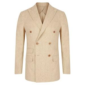 Beige Linen & Cotton Blend Double-Breasted Jacket