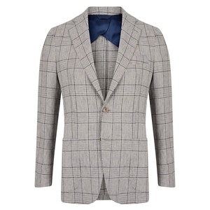 Navy Linen & Cotton Blend Windowpane Check Jacket