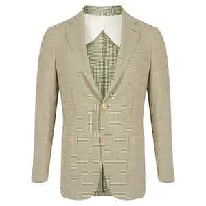 Green Linen & Cotton Blend Houndstooth Check Jacket