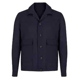 Navy Virgin Wool Lightweight Shirt Jacket