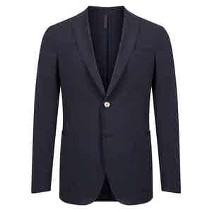 Navy Seersucker Single-Breasted Drawstring Waist Trouser Suit