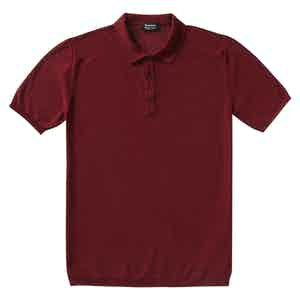 P.P.P. Burgundy Shaved Cotton Knitted Polo Shirt