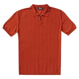P.P.P. Red Shaved Cotton Vintage Pattern Knitted Polo Shirt