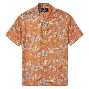 "HST Orange Rayon ""Aloha"" Japanese Fabric Camp Collar Shirt"