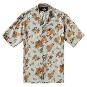 "HST Light Blue Rayon ""Pineapple"" Japanese Fabric Camp Collar Shirt"