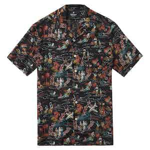 "HST Black Rayon ""Aloha"" Japanese Fabric Camp Collar Shirt"