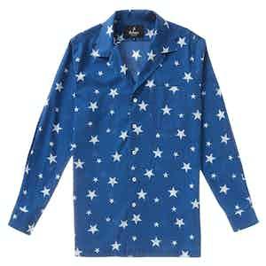 Blue Japanese Indigo Cotton Star Pattern Burt Long-Sleeved Shirt