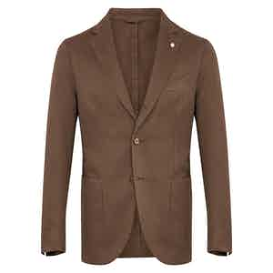 Brown Cotton & Linen Blend Single-Breasted Jacket