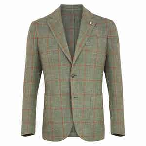 Green & Red Check Cotton Single-Breasted Jacket