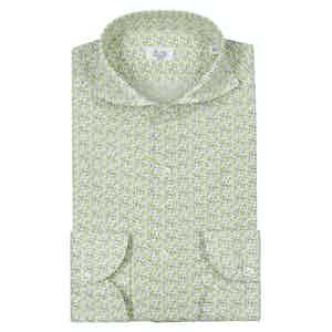 Green Irish Linen Floral Pinted Shirt