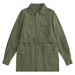 Hunter Green Indian Textured Linen Hemingway Safari Jacket