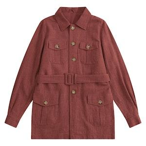 Rust Indian Textured Linen Hemingway Safari Jacket