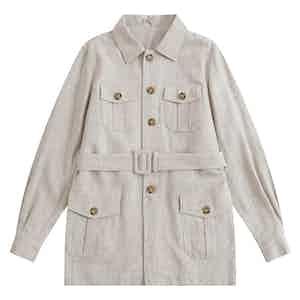 Stone Indian Textured Linen Hemingway Safari Jacket