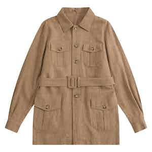 Beige Indian Textured Linen Hemingway Safari Jacket