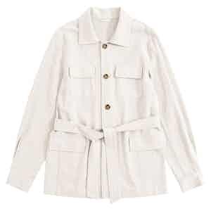 Ecru Indian Textured Linen Rakish Belted Safari Jacket