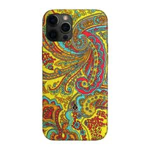 Yellow and Red Paisley Silk 7 Veils iPhone 12/12 Pro Case