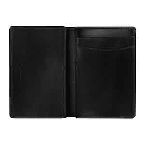 Black Saddle Leather Hanover Folding Card Case