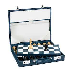 Marine Blue Saddle Leather Hanover Chess Case