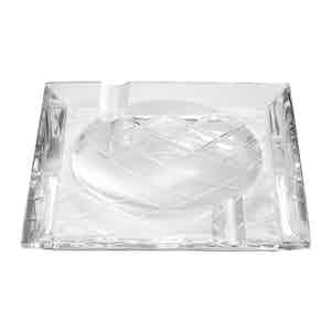 Neutral Lead Free Crystal Crosshatch Ashtray