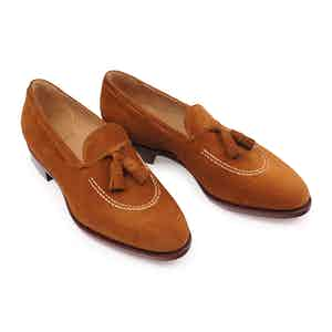 Brown Suede Apron Tassel Loafer