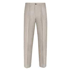 Beige Linen Leisure Pants