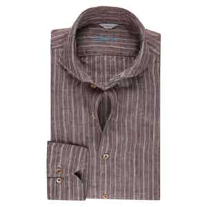 Brown Striped Linen Slimline Shirt